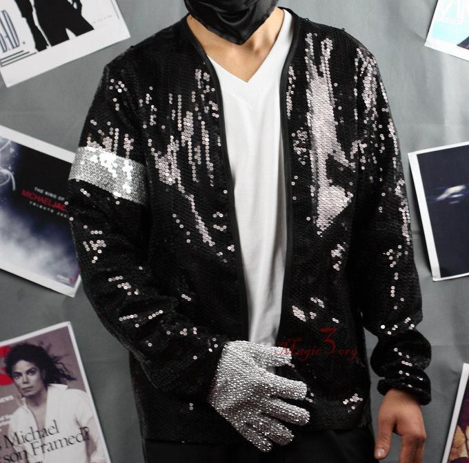 Michael Jackson Billie Jean Sequin Jacket W/ Armband MJ Costume COAT