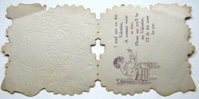Antique Vintage Valentines Day Card Violets Boat Music Notes