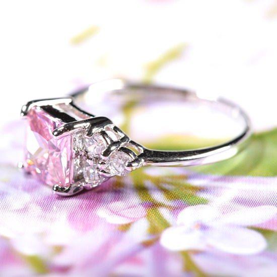 Lady Fashion Jewelry Square Cut Pink Sapphire Fine Clear Topaz Ring SZ