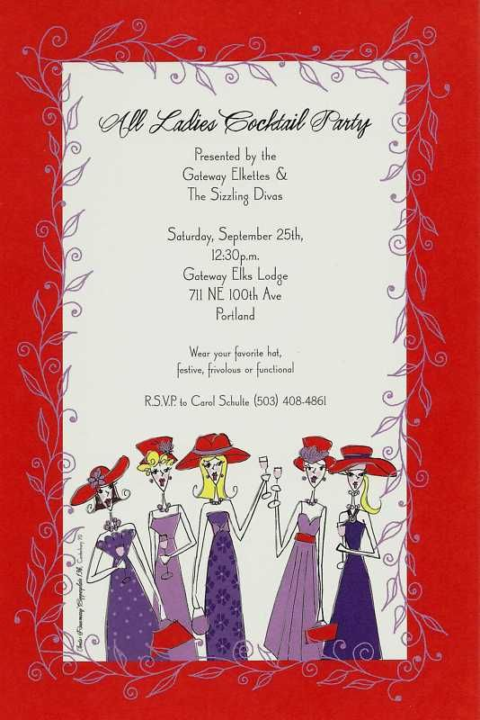 RED HAT SOCIETY LADIES PARTY EVENT LUNCHEON INVITATIONS