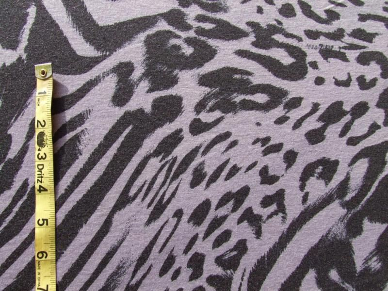 Gray Stretch Knit Fabric w/Black LEOPARD Print PuNk