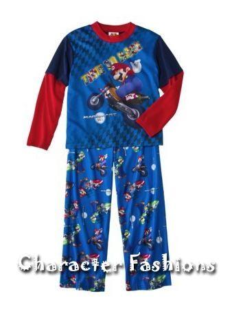 SUPER MARIO KART Wii Pajamas pjs Shirt Pants Size 4 5 6 7 8 10 12 14