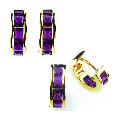 Jewelry PURPLE AMETHYST YELLOW GOLD GP EARINGS HOOP EARRINGS